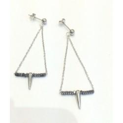 Boucles d'oreilles  pendantes Zag acier et hématite
