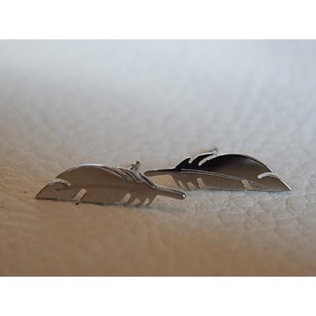 Boucles d'oreilles acier ZAG plume