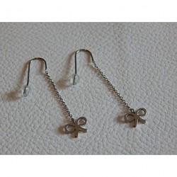 Boucles d'oreilles pendants acier ZAG  noeud