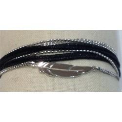 Bracelet ZAG acier multirangs plume