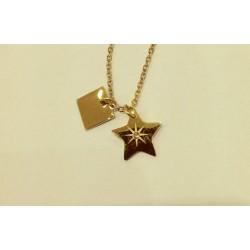 Collier ZAG étoile et strass acier doré