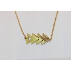 Collier Zag acier doré quadruple triangle