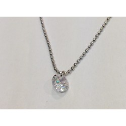 """Collier Zag acier  maille boulle """"strass"""""""