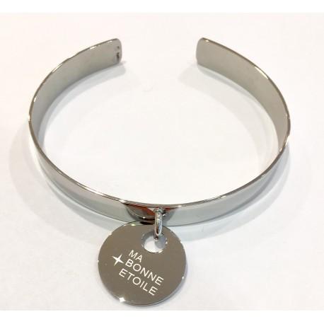 """Bracelet rigide acier ZAG breloque """"ma bonne étoile"""""""