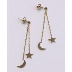 """Boucles d'oreilles Zag pendante """"Lune et Etoile"""""""