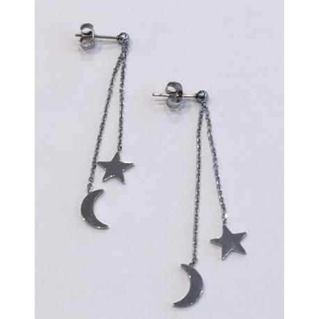 boucles d'oreilles pendantes lune