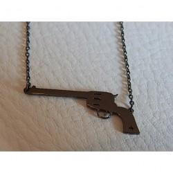 Collier acier gun ZAG pistolet