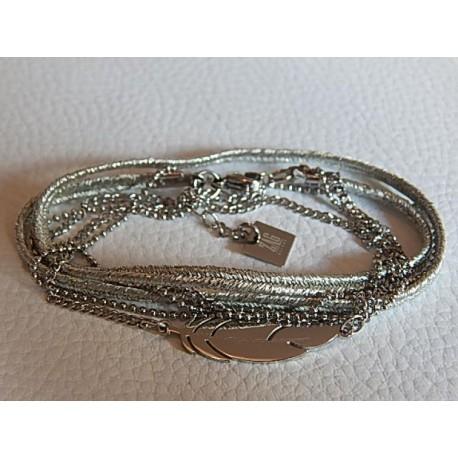 Bracelet multirangs ZAG plume