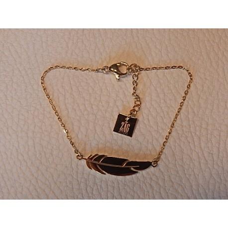 Bracelet acier doré ZAG plume