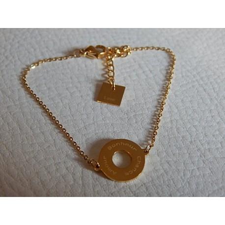 Bracelet acier doré ZAG rond